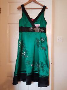 Monsoon-dress-size-14-Green-amp-black-Silk-BNWT-NEW-Party-Wedding-Christening