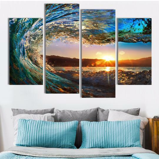 ROLLING WAVES PAINTING CANVAS Wand Kunst 4 PANELS  FRAMED BRAND NEW