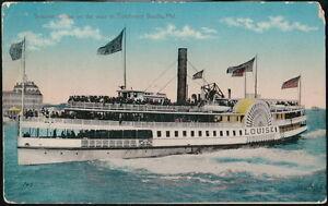 BALTIMORE-MD-Harbor-Steamer-Louise-to-Tolcherster-Beach-Vtg-Color-Postcard-Old