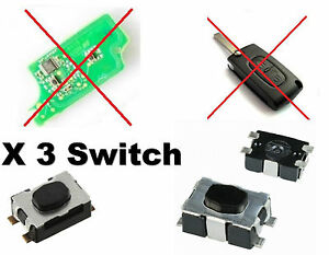 3x switch bouton pour t l commande cl plip citroen c1 c2 c3 c4 c5 c6 c8 ebay. Black Bedroom Furniture Sets. Home Design Ideas