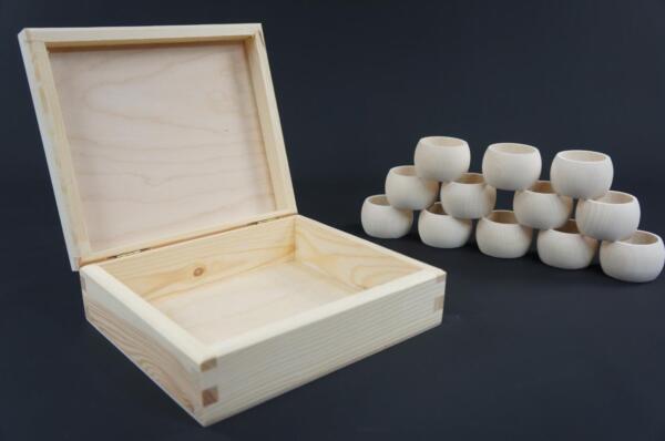1 X Plain Wooden Box & 12 Napkin Rings Storage Box Napkin Holders Pd33 Elegant In Stijl