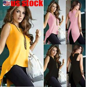 Women-Summer-Loose-Top-Cross-Fishtail-Back-Irregular-Blouse-Casual-Tops-T-Shirt