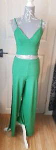 New-Ladies-Green-Wide-Split-Leg-Trousers-And-Crop-Top-Co-ordinate-Set-Size-6