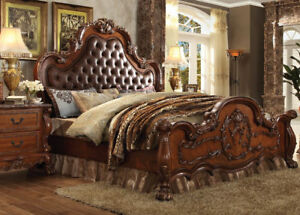 Image Is Loading Antique Cherry Oak Tufted Bedroom Furniture Set California