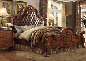 Antique Cherry Oak Tufted Bedroom Furniture Set California King Size