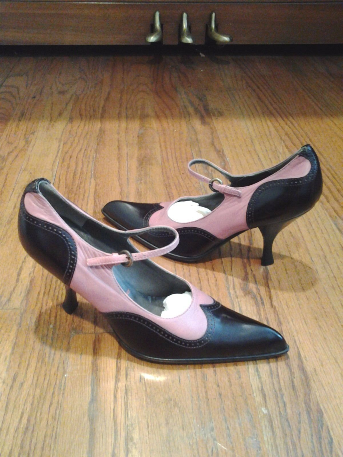 New MIU MIU  Rosa leather high heel ankle strap schuhe 5.5 35 1 2