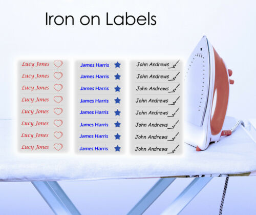 20 Iron on Name Labels school tags with own choice of colour and picture