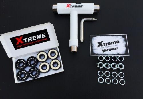 8 Pack Xtreme ABEC 9 SKATEBOARD BEARINGS T TOOL MULTI-TOOL HARDWARE KIT