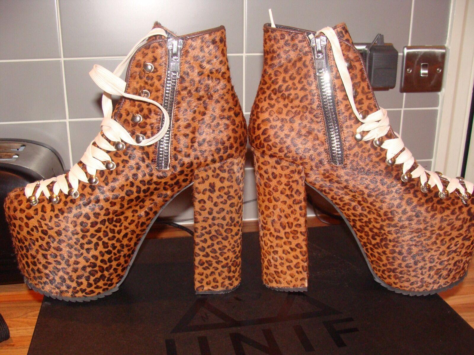 UNIF HELLBOUND 100% Leather Leopard Design Platform Stiefel Größe 6 Rare Boxed