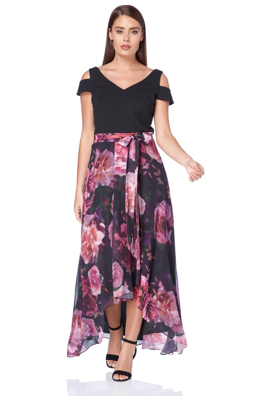 Roman Originals Woherren Rosa Floral Print Maxi Dress Größes 10 - 20