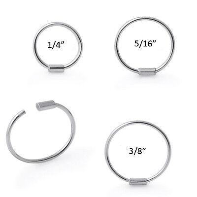 925 Sterling Silver Nose Ring Hoop 1 4 5 16 3 8 22 Gauge 22g Ebay
