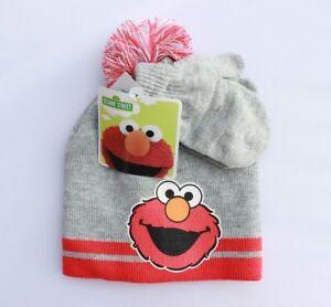 487a61cd401b2 Sesame Street Elmo Winter Hat Gloves Beanie Mittens SET Kids Boys ...