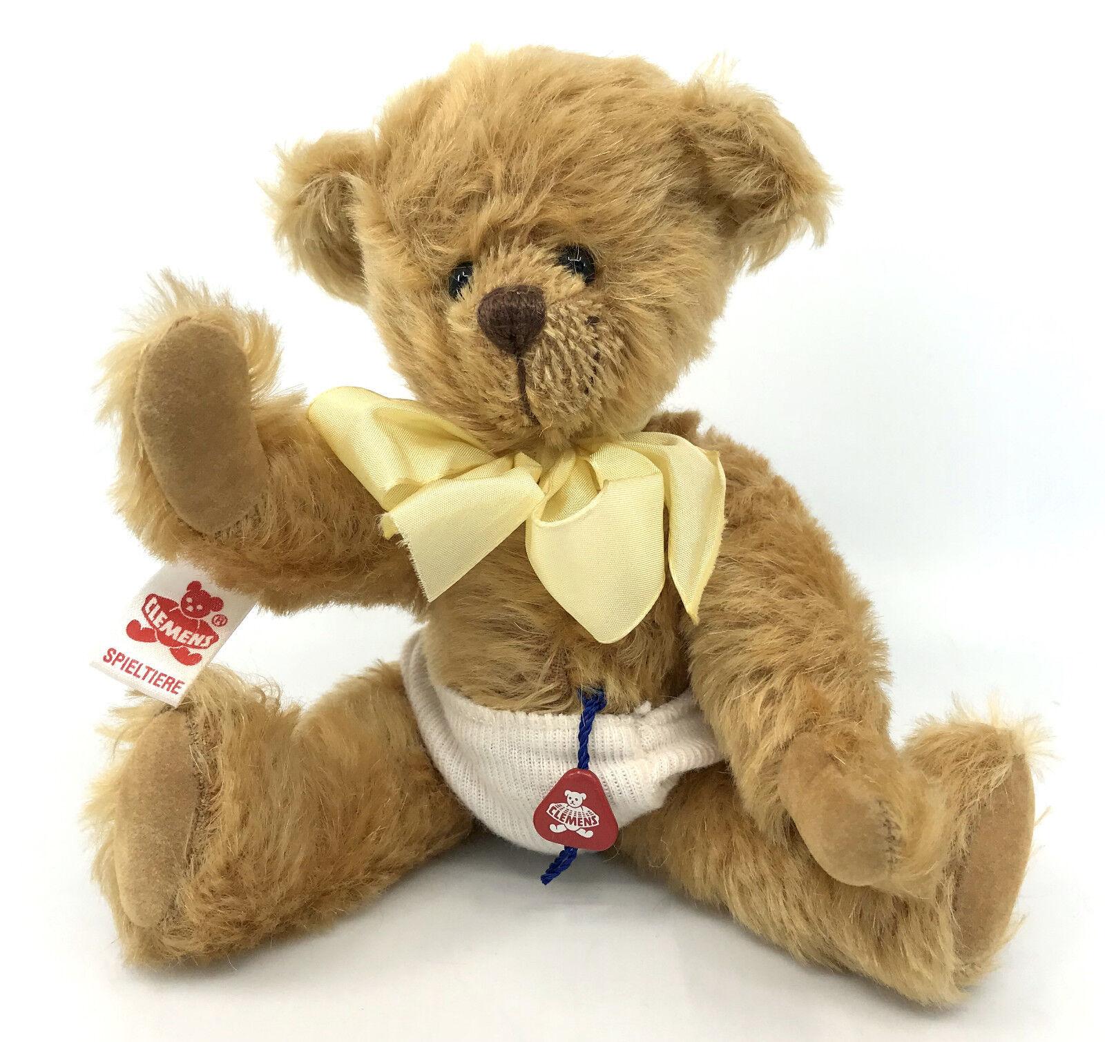 Clemens Spieltiere Baby Teddy Bear Gold Mohair Plush Tags 7.5in wears Knickers