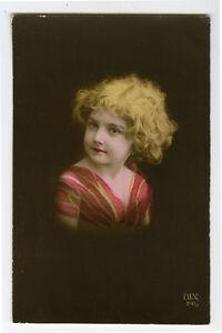 1910's Children Child CUTE LITTLE GIRL antique photo postcard