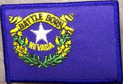 NEVADA  USA STATE SQUARE FLAG EMBROIDERED IRON-ON PATCH CREST BADGE