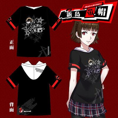 Game Persona 5 Makoto Niijima Queen Cosplay Hooded T-shirt Short Sleeve Top Tee