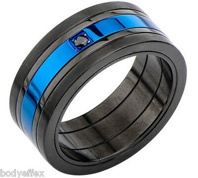 BOLD CLASSY MENS INOX BLACK & BLUE IP STAINLESS STEEL BAND RING WITH BLACK CZ