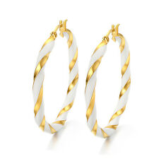 Beautiful One Pair Women's Enamel With Gold Titanium Steel Ear Big Hoop Earrings