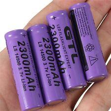 4pcs 3.7V 2300mAh 14500 AA Li-ion Rechargeable Battery For LED Flashlight #8