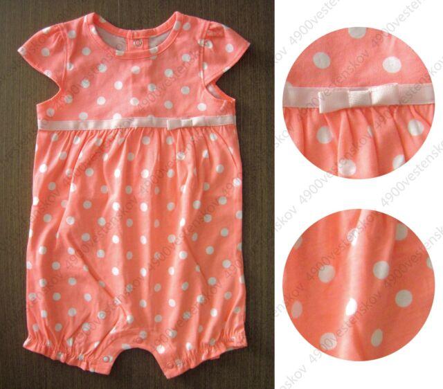 carter's baby girl bright orange pink polk dot flutter-sleeve romper one piece