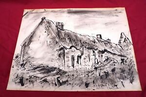 Brittany-Cottage-Ink-Drawing-Georges-Ballerat-Meucon-near-Quimper-1970-Signed