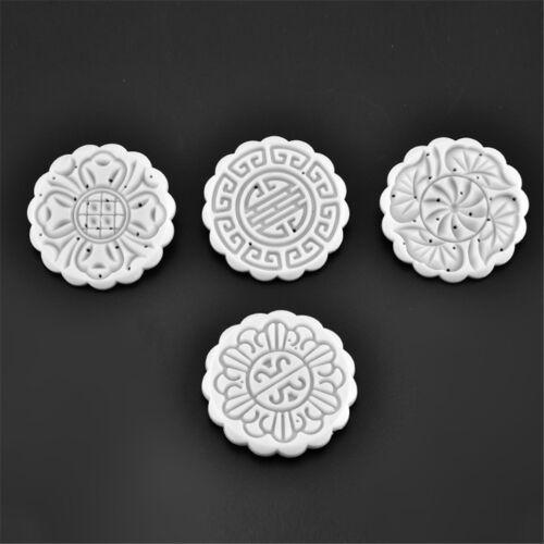4 stamps flower mooncake moon cake diy round mold baking craft tool set ZD