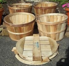 Splint Wood Bushel Baskets with LIDS Metal Handles Closures Crafts Farm Crabs