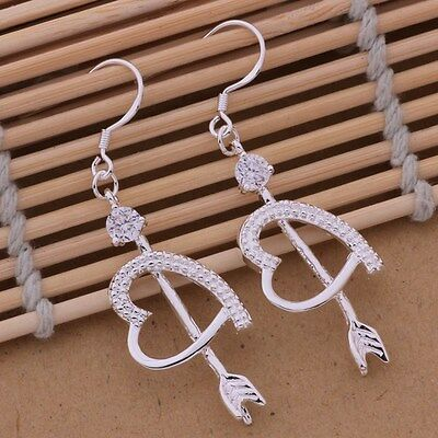 Earrings Hook Drop Arrow Heart Ladies 925 Sterling Silver Beautiful Crystal