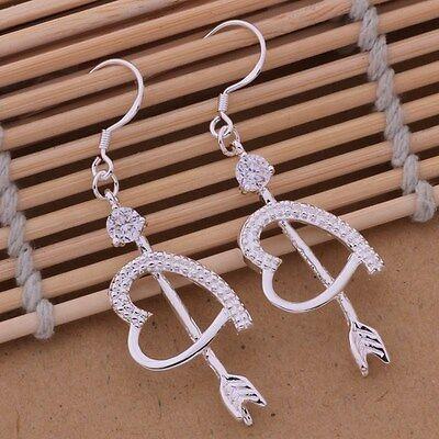 Earrings Hook Drop Arrow Heart Ladies 925 Sterling Silver Beautiful Crystal
