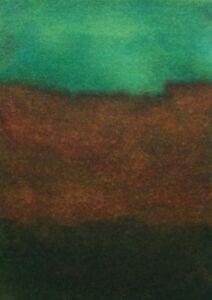 EMERALD-GREEN-SKY-LANDSCAPE-Pen-Ink-ACEO-Painting-3-5x2-5-Julia-Garcia-Art-NEW