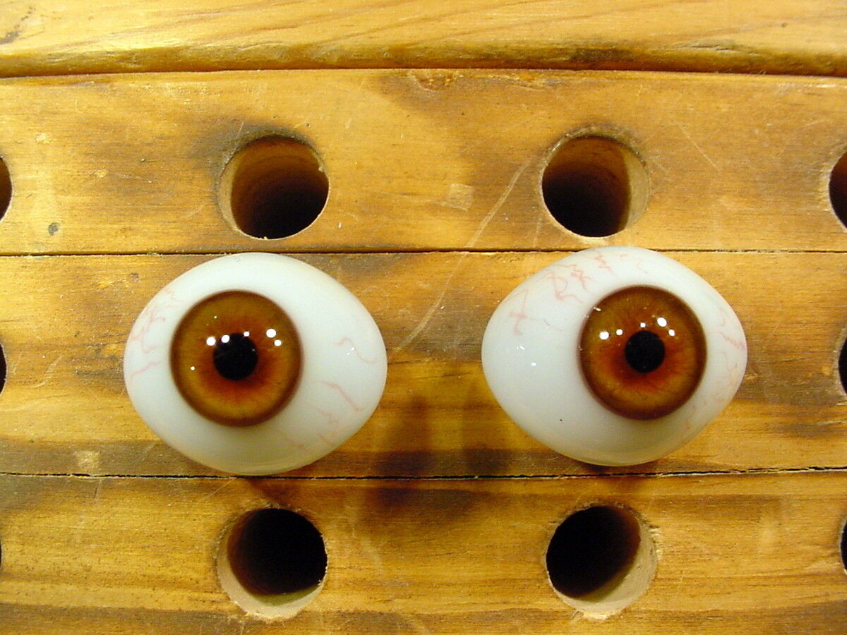 Vintage pair glass eyes with veins for bisque Doll Ø 23mm age 1910 Lausch A 1498