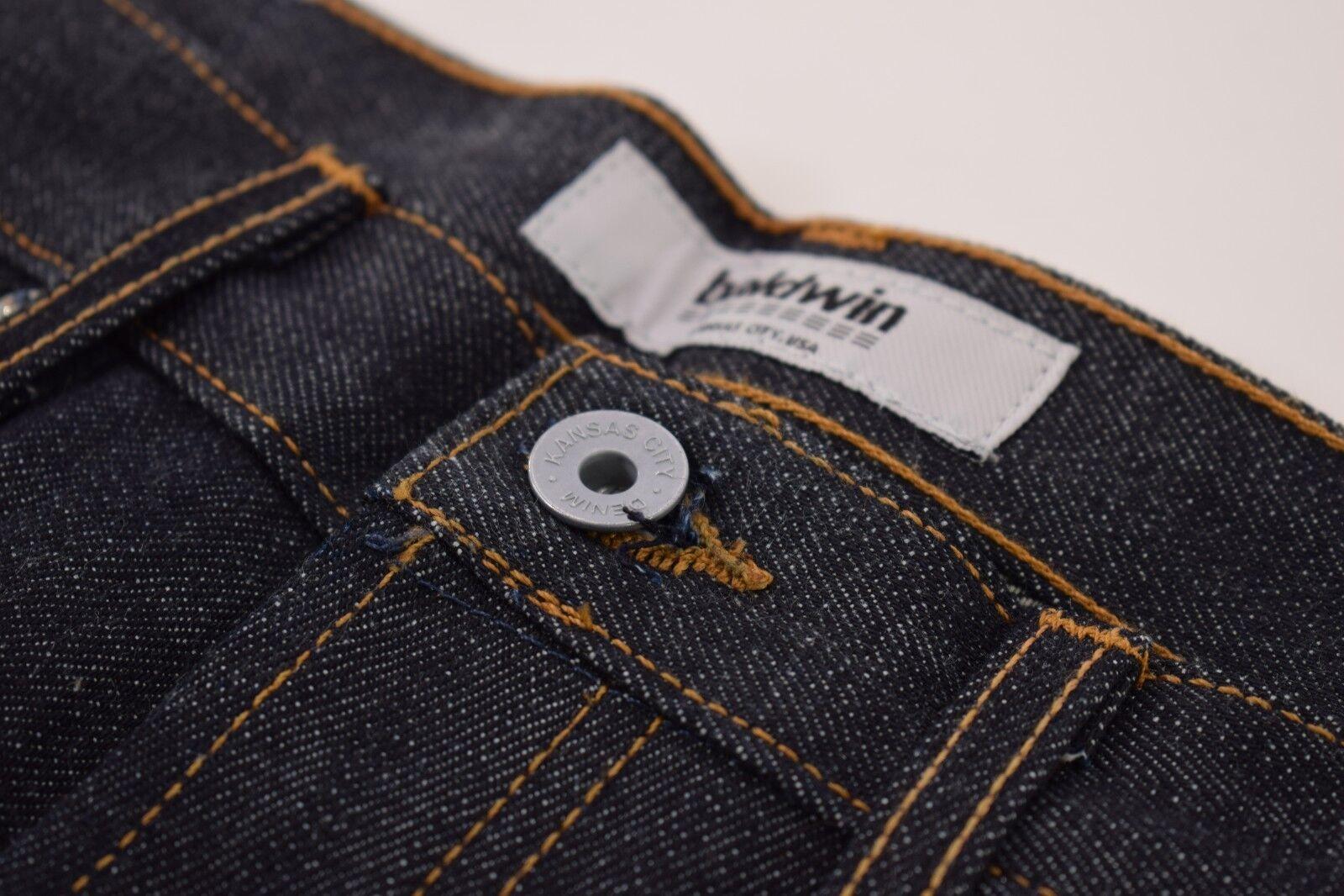 Baldwin la caña caña caña Nuevo con etiquetas de cinco bolsillos Orillo Denim Jeans Talla 29 en Azul Oscuro b4b084