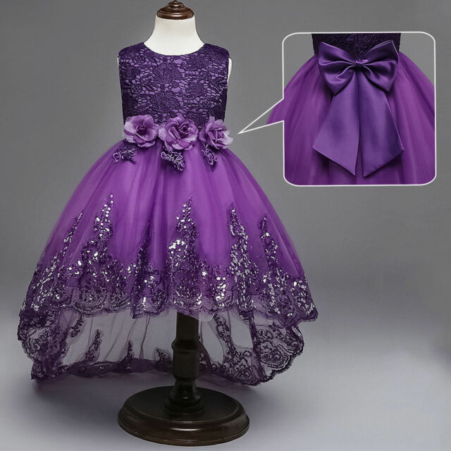 US STOCK Kids Flower Girl Bow Princess Dress Party Wedding Bridesmaid Gown ZG9
