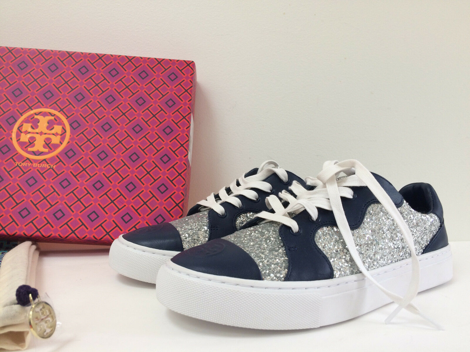 NIB TORY BURCH 7.5M 9.5M Milo Silver Glitter/Navy Leather Lace Up Sneakers New