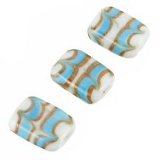 White Rectangle Glass Beads Turquoise/Gold Pattern 18mm (A68/6)