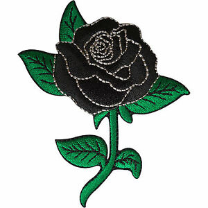 Black-Rose-Patch-Embroidered-Flower-Badge-Iron-Sew-On-Clothes-Jacket-Jeans-Shirt