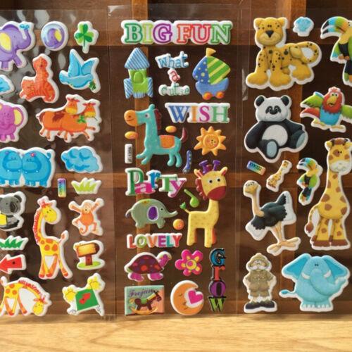 10pcs//Lot Bubble Stickers 3D Cartoon KIds ClassicToys Sticker School Reward UK