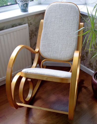 NEW BENTWOOD ROCKING CHAIR PADDED SEAT BIRCH THONET LIVING BED ROOM ...