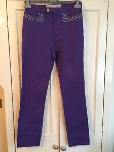 44it Versace 12uk Purple Slim m Stretch Pants Tamaño TTngF