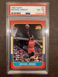 MICHAEL JORDAN 1986 FLEER ROOKIE BASKETBALL CARD #57. PSA 8. HIGH-END CENTERED