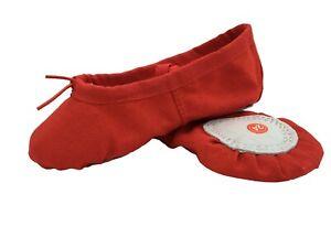 BALLET-RED-CANVAS-GYMNASTIC-YOGA-SPLIT-SOLE-SHOES
