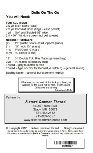 NEW Dolls On The Go sewing pattern by Sisters/' Common Thread