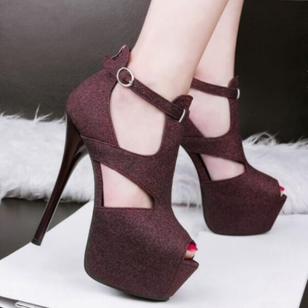 ed5bbae203a sandalias de mujer alto tacón 14 cm plataforma aguja rojo vino como piel  CW282