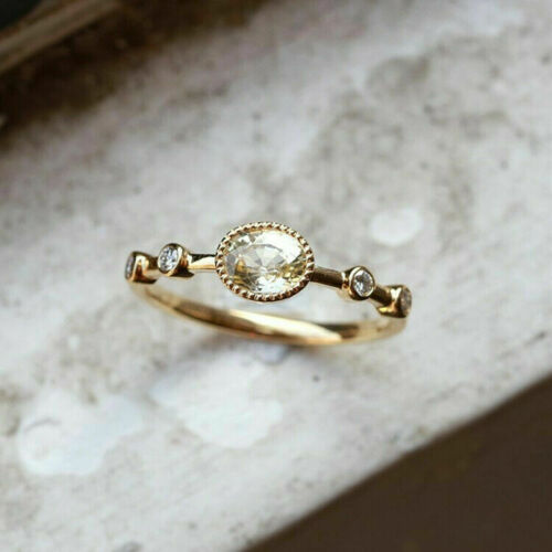 Jewelry Cut Wedding Engagement Fashion Gold Women 14K Ring Topaz Oval Dainty