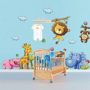 R00079 Wall Stickers Adesivi Murali bambini Giungla multicolore ...