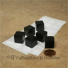 NEW Set of 6 Blank Dice - 16mm Black - RPG Game D&D D6