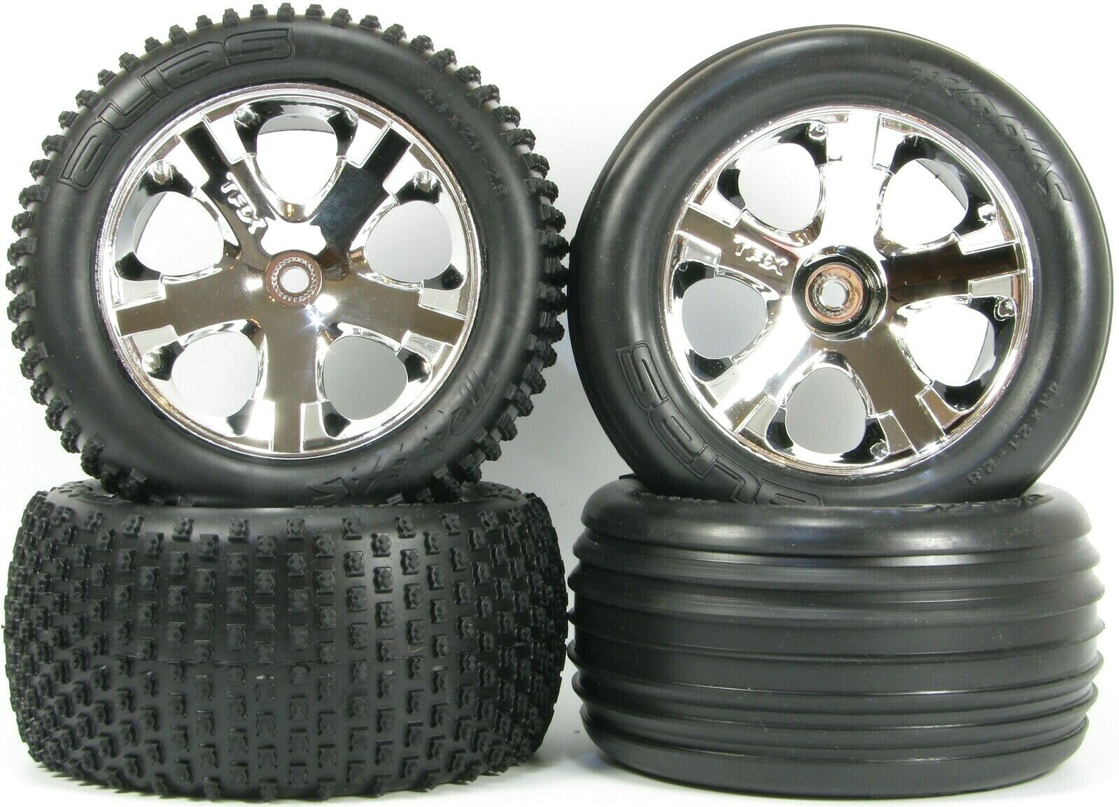 Traxxas Rustler 2WD Front Rear Wheel & Tyre Set (Parts )