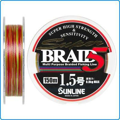 Sito Ufficiale Dyneema Super Braid Sunline Pe1 0.165mm 150m Kg6.1 Multicolor Spinning Saltwater