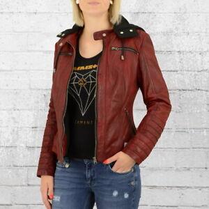 Blue-Monkey-Damen-Leder-Jacke-Mit-Kapuze-vintage-rot-Frauen-Lethaer-Jacket