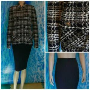 St John Collection Purple Jacket Skirt L 10 12 2pc Suit Cream Multicolor Pockets